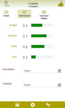 Saleswah Lite CRM Deals Status Screen