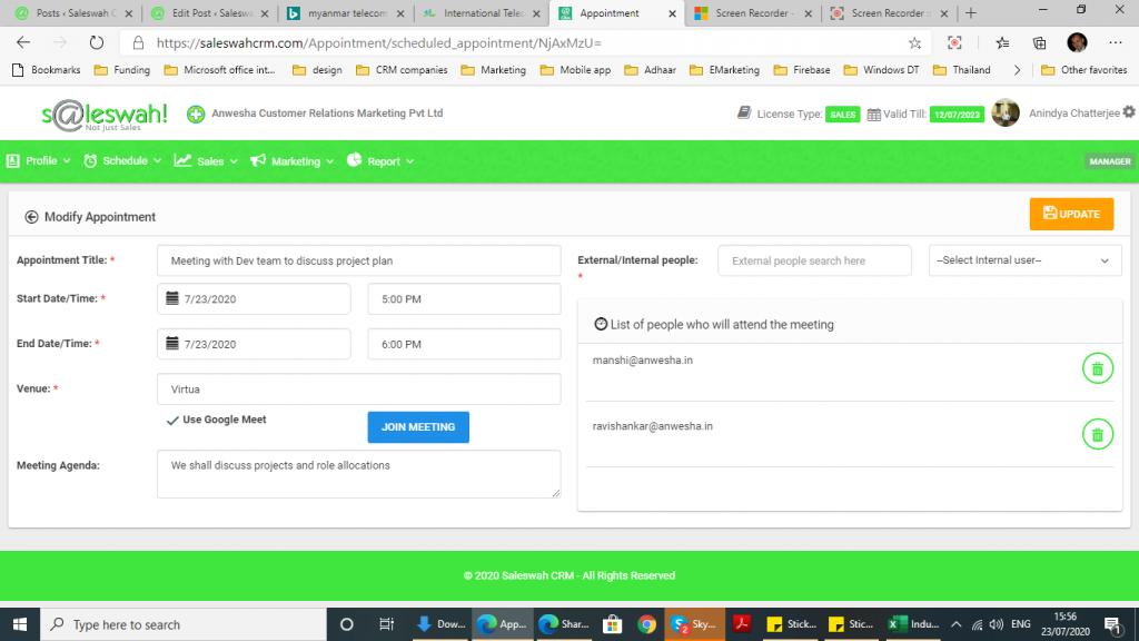 Virtual Meeting from Saleswah CRM using Google Meet